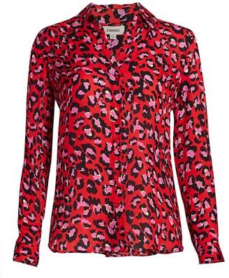 L'Agence Nina Leopard Print Silk Shirt