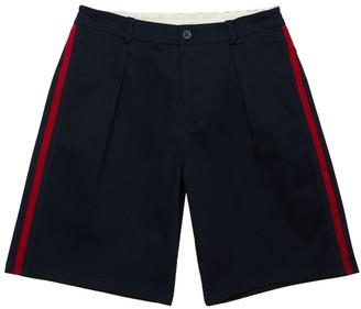 Gucci Stretch Gabardine Shorts W/ Web Bands
