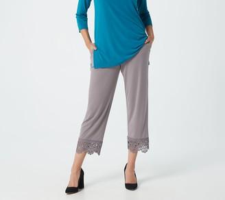 Susan Graver Petite Liquid Knit Pull-On Crop Pants w/LaceHem