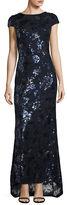 Calvin Klein Cowlback Floral Sequin Gown