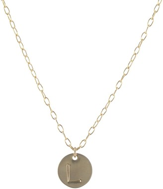 Peggy Li Creations Large Letter Initial Necklace One Charm Gold 16 Inch