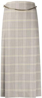 Victoria Beckham Plaid Print Midi Skirt