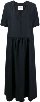 Jil Sander drop-waist V-neck maxi dress