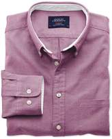 Charles Tyrwhitt Slim Fit Berry Washed Oxford Cotton Casual Shirt Single Cuff Size XS