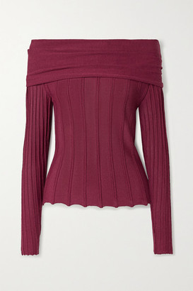 Agnona Off-the-shoulder Ribbed-knit Top - Claret