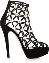 Charlotte Olympia Galaxy crystal-embellished cutout suede boots