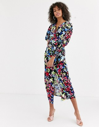NEVER FULLY DRESSED wrap front tie front blouse in neon floral print