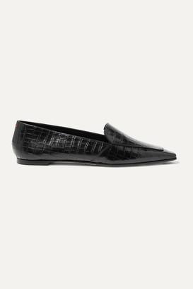 aeydē - Aurora Glossed Croc-effect Leather Loafers - Black