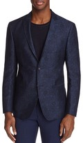 John Varvatos Star USA LUXE Chambray Floral Print Slim Fit Sport Coat