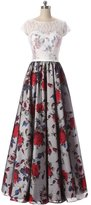 Orient Prom Lace and Print Long Formal Maxi Prom Dress Cap Sleeves Bridesmaid Gowns