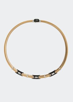 Nikos Koulis Feelings Necklace with Diamonds and Black Enamel