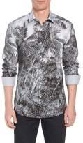 Bugatchi Shaped Fit Shady Frond Print Sport Shirt