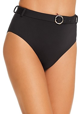 Aqua Swim Belted High-Waist Bikini Bottom - 100% Exclusive