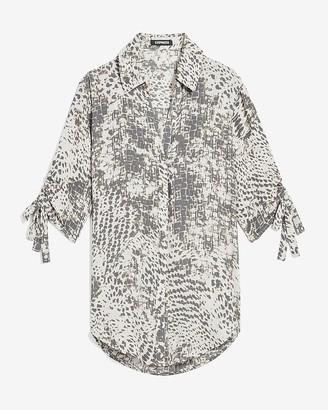 Express Animal Print Tie Sleeve Button-Up Shirt