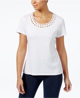 Karen Scott Cotton Embellished T-Shirt, Only at Macy's