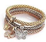 Unique Women's Butterfly Diamond Chain Bracelet & Bangle