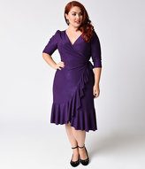 Kiyonna Plus Size Purple Sparkle Three-Quarter Sleeves Whimsy Wrap Dress