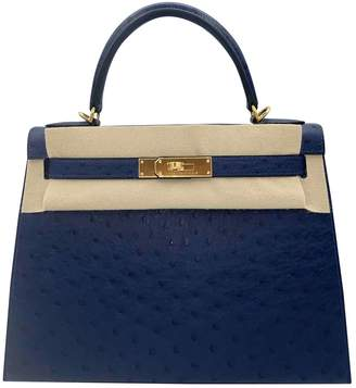 Hermes Kelly 28 Blue Ostrich Handbags