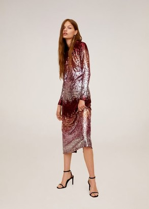 MANGO Sequined midi dress medium red - 2 - Women