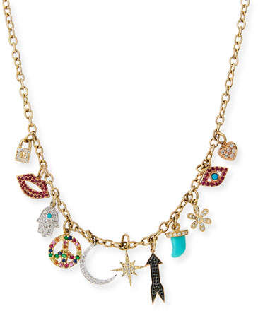 Sydney Evan Multi Charm Necklace with Diamonds