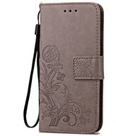Fashion Floral Clover Embossed PU Leather Magnetic Flip Cover Card Holders & Hand Strap Wallet Purse Cover Case For Mobile Cell Phone (LG Escape 3 K350 K8)