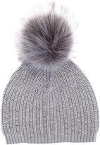 Mint Velvet Grey Studded Detail Pom Pom Hat