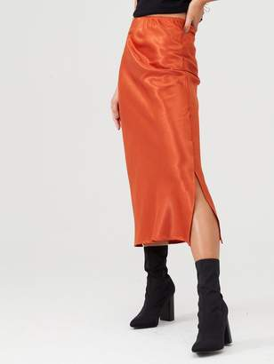 AX Paris Bias Cut Satin Midi Skirt - Rust
