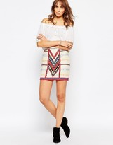 Pepe Jeans Canvas Mini Skirt With All Over Beading