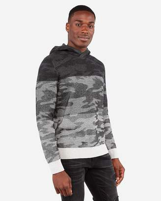Express Camo Color Block Hooded Sweater