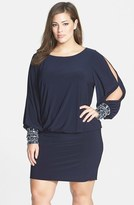Xscape Evenings Plus Size Women's Matte Jersey Blouson Dress With Beaded Cuffs