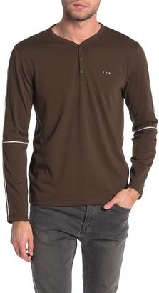 John Varvatos Oakland Long Sleeve Snap Henley Shirt