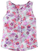 Osh Kosh Girls 4-6x Floral Henley Tank