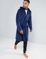 Asos Hooded Fleece Robe in Navy