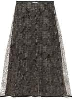 Vionnet Metallic Mesh And Silk-Crepe Midi Skirt