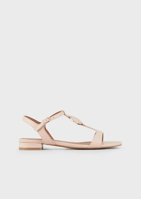 Emporio Armani Nappa-Leather Sandals With Logo Plate