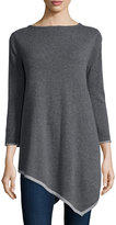 Neiman Marcus Cashmere 3/4-Sleeve Tunic Top, Gray