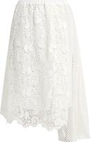No.21 NO. 21 Macramé-lace draped-panel skirt