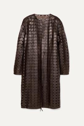 Bottega Veneta Leather Coat - Brown