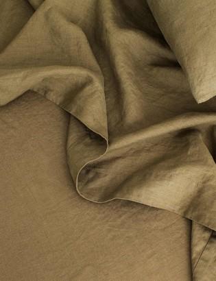 Lulu & Georgia Cultiver Linen Bedding, Olive Flat Sheet