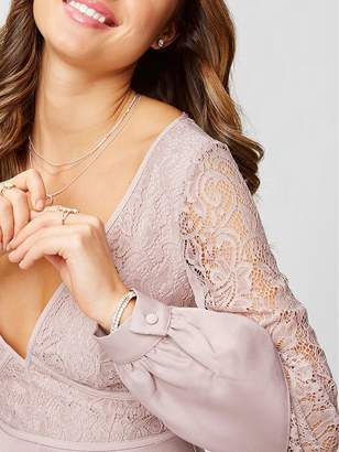 Little Mistress Petite Long Sleeve Lace Top Dress - Mink