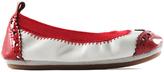 Yosi Samra White & Red Sachi Leather Ballet Flat - Infant Toddler & Girls