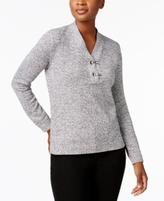 Karen Scott Petite Cotton Henley Sweater, Created for Macy's