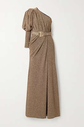 PatBO One-sleeve Belted Ruched Lurex Gown - Gold