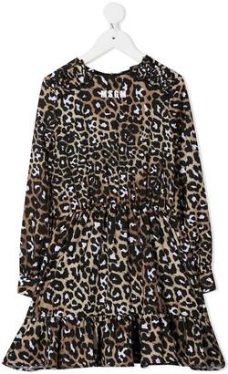 Msgm Kids Leopard-Print Ruffled-Hem Dress