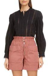 Etoile Isabel Marant Peachy Pleated Lace Inset Blouse