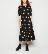 New Look Daisy Floral Puff Sleeve Tiered Midi Dress