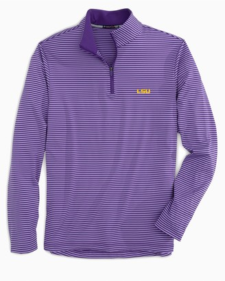 Southern Tide LSU Tigers Striped Quarter Zip Pullover
