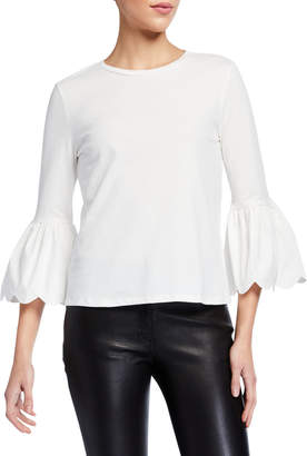 ENGLISH FACTORY Scallop Bell Sleeve Cotton T-Shirt