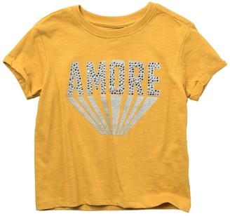 Jessica Simpson Acid Wash Slub Knit Graphic T-Shirt