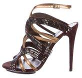 Roberto Cavalli Leather Cage Sandals